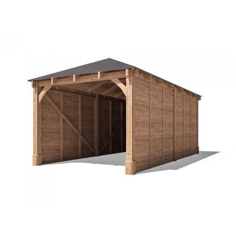 Carport Garage Hercules W3m x D6m - Single Car Space Shelter Wooden Patio Canopy Car Port with Roof Felt
