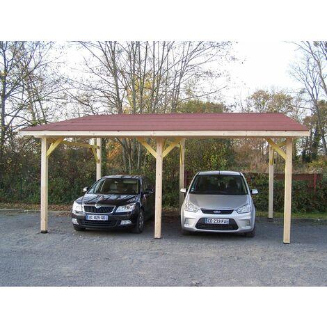 Carport mono-pente DOUBLE / couverture bardeau bitumé