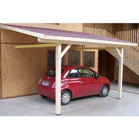 Habrita Foresta - Carport en bois mural monopente 16,25 m2 toit bitumé 2 poteaux - AM3350BM