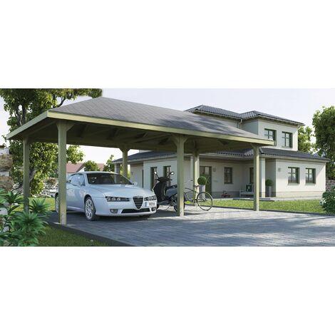 Carport premium WEKA disponible en plusieurs tailles.