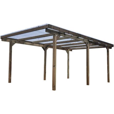 carport Teddy en bois- 1 voiture- 3,05x5x2,22m