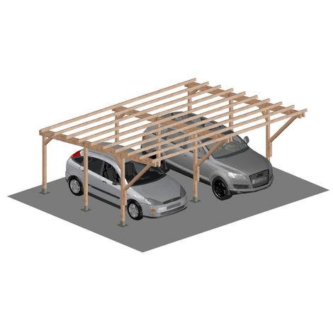 Carport Tettoia A Sbalzo Per Auto In Legno Di Pino Impregnato Mt 5 X 6 Con Supporti