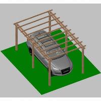 Carport Tettoia per Auto in Legno di Pino Impregnato - mt 5 X 3 - con Supporti