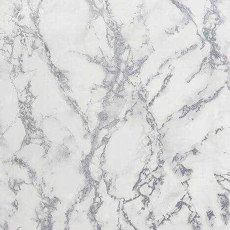 Carrara Marble Wallpaper White Grey Silver Glitter Shimmer Embossed Metallic