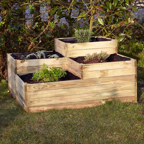 carr potager 4 bacs en bois. Black Bedroom Furniture Sets. Home Design Ideas