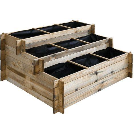 Carré potager à étages en bois traité 120 x 100 cm