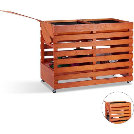 Carré potager bois, légume, herbes, jardin, balcon, Jardinière sur pied, roulettes, HLP: 75x99x50 cm, nature
