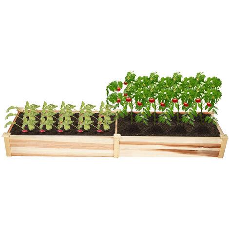 Carré potager en bois de Jardin sur Pied Table de Rempotage 226*55*25cm