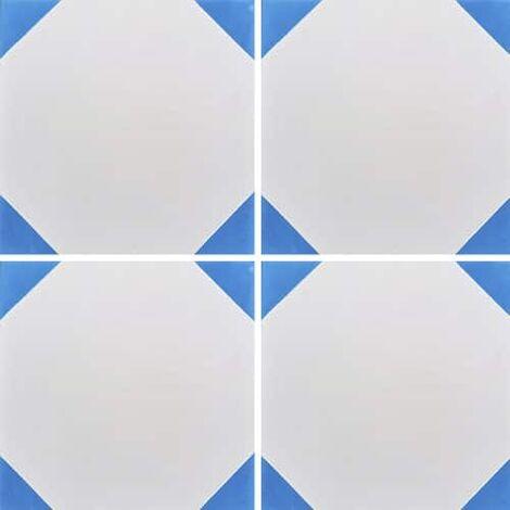 Carreau de ciment blanc effet cabochon bleu 20x20 cm ref520-1 - 0.48m²