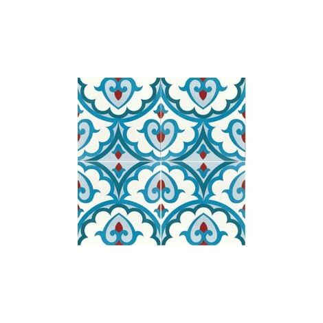 Carreau de ciment décor bleu rouge géométrique 20x20 cm ref7920-2 - 0.48m²