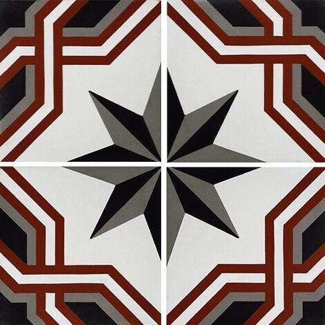 Carreau de ciment décor étoile noire liseret rouge 20x20 cm ref1210-1 - 0.48m²