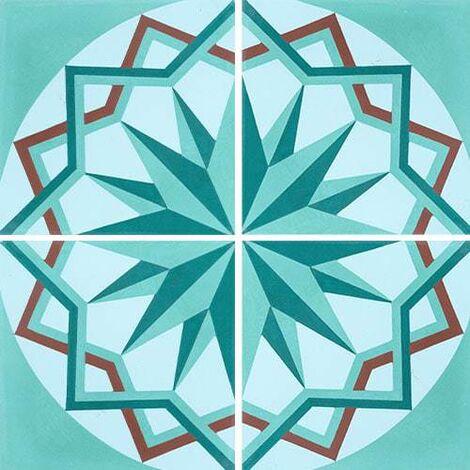 Carreau de ciment décor étoile turquoise 20x20 cm ref7010-1 - 0.48m²