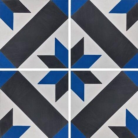 Carreau de ciment décor géométrique bleu et noir 20x20 cm ref1150-13 - 0.48m²