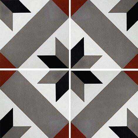 Carreau de ciment décor géométrique gris rouge 20x20 cm ref1150-4 - 0.48m²