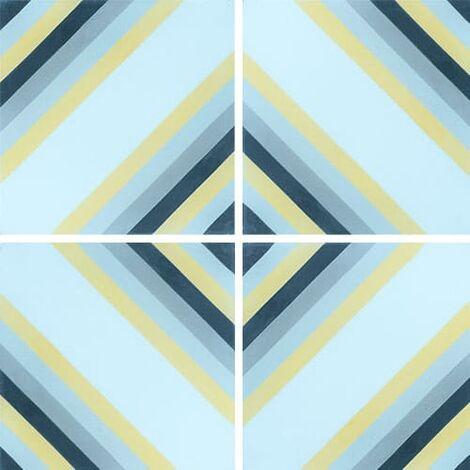 Carreau de ciment effet rayé bleu, jaune 20x20 cm ref7130-1 - 0.48m²