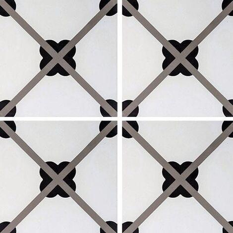 Carreau de ciment géométrique trèfle noir 20x20 cm ref7250-1 - 0.48m²
