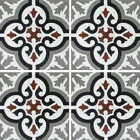 Carreau de ciment motif ancien floral noir et rouge 20x20 cm ref7900-4 - 0.48m²