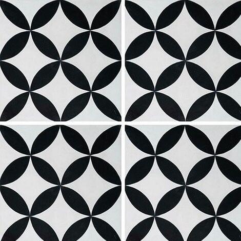 Carreau de ciment véritable Quatre feuilles noir et blanc 20x20 cm ref7180-3 - 0.48m²