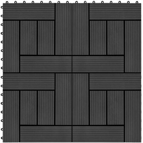 Carreau de terrasse 11 pcs WPC 30 x 30 cm 1 m² Noir
