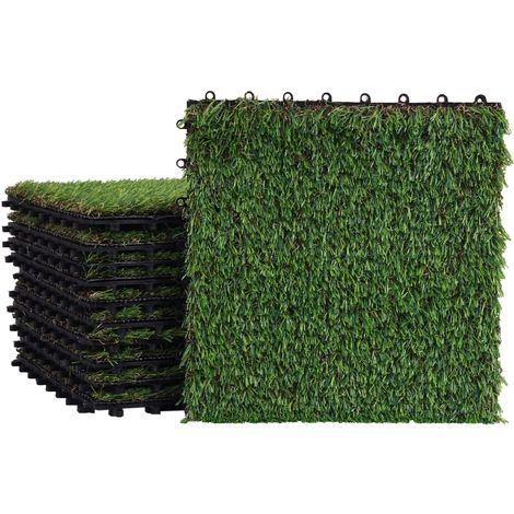 Carreau d'herbe WPC-E13, carrelage à pelouse, tapis de gazon, balcon/terrasse, 11pièces à 30x30cm