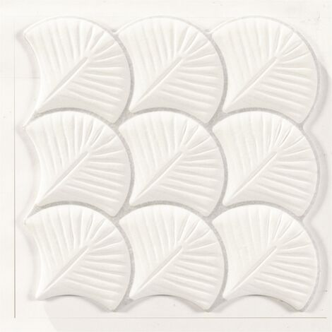 Carreau feuilles blanches mates 30x30 SCALE SHELL WHITE - 0.75m²