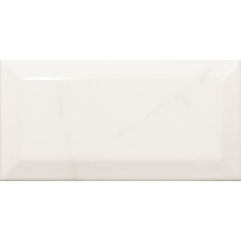 Carreau métro Blanc brillant marbré 7.5x15 cm CARRARA GLOSS 23079 0.5m²