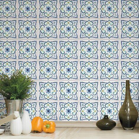 CARREAUX DE CIMENT - <p>Carrelage mural faïence adhésive carreaux de ciment bleu-blanc - 4 fois 25x25cm</p> - Bleu