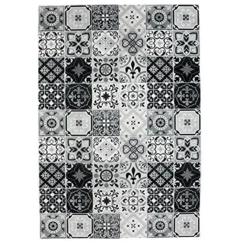 CARREAUX DE CIMENT - <p>Tapis carreaux de ciment noir et blanc 60x90</p> - Blanc