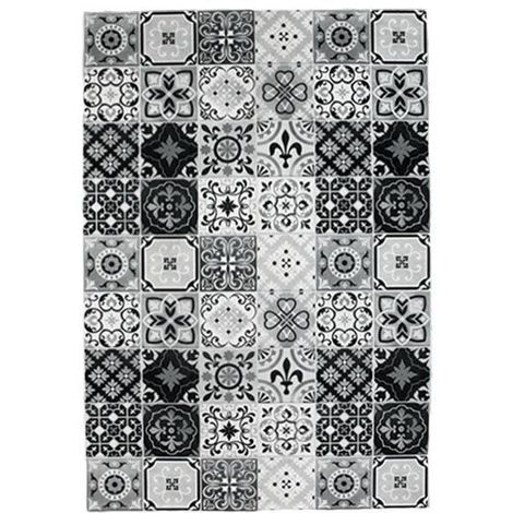 CARREAUX DE CIMENT - <p>Tapis carreaux de ciment noir et blanc 60x90</p> - Noir