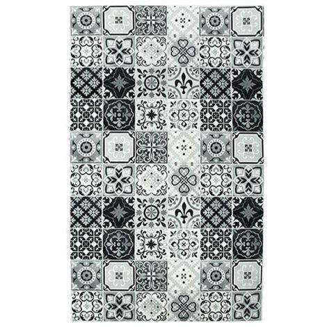 CARREAUX DE CIMENT - <p>Tapis imprimé carreaux de ciment noir et blanc 45x75</p> - Noir