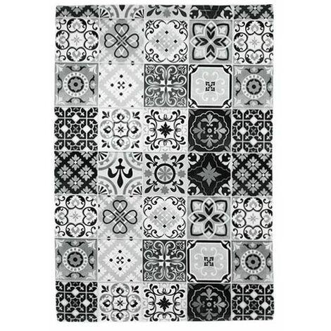 CARREAUX DE CIMENT - <p>Tapis motifs carreaux de ciment noir-blanc 40x60</p> - Noir blanc