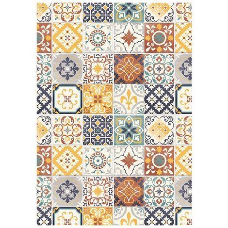 CARREAUX DE CIMENT - Tapis imprimé carreaux de ciment jaune 45x75 - Jaune