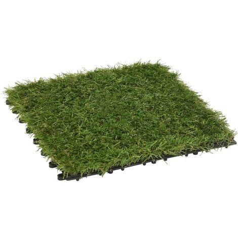 Carreaux de gazon artificiel 11 pcs Vert 30x30 cm