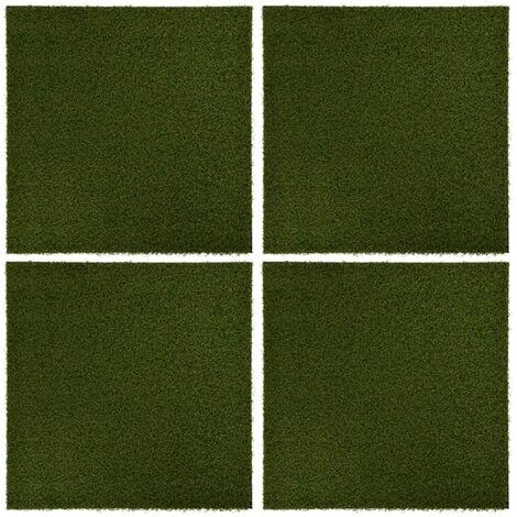 Carreaux de gazon artificiel 4 pcs 50x50x2,5 cm Caoutchouc
