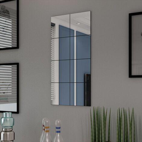 Carreaux de miroir Verre sans cadre 8 pcs 20,5 cm