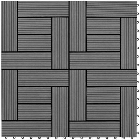 Carreaux de platelage WPC gris 11 pcs