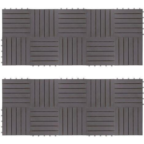 Carreaux de terrasse 20pcs Délavage gris 30x30 cm Acacia solide