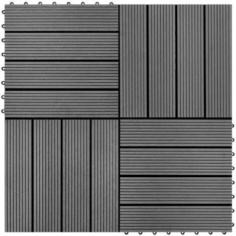 Carreaux de terrasse 22 pcs 30 x 30 cm 2 m² WPC Gris