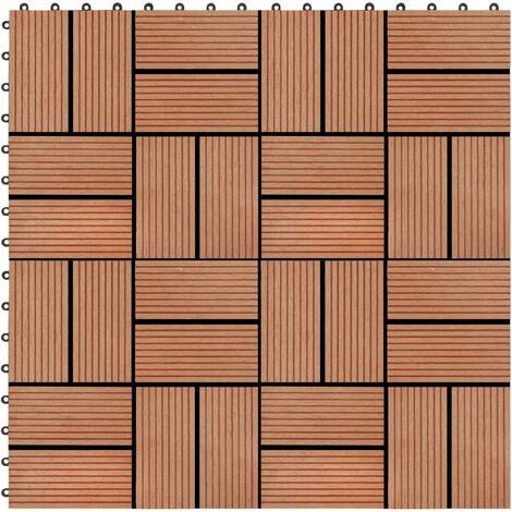 Carreaux de terrasse 22 pcs 30 x 30 cm 2 m² WPC Teck