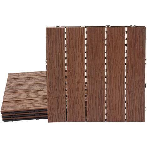Carreaux en WPC, HHG-167, aspect bois pour balcon/terrasse, structure 3-D, marron ~ 4 carreaux 50x50 cm = 1 m²