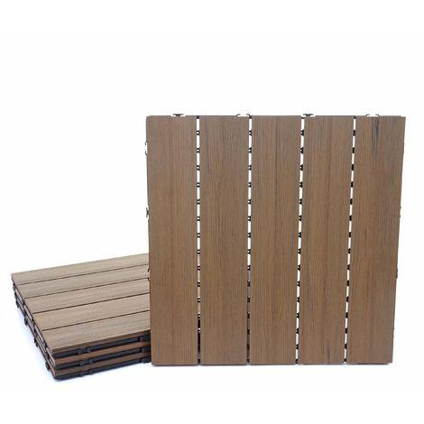 Carreaux en WPC, HHG-169, aspect bois pour terrasse, structure 3-D ~ 4 carreaux à 50x50 cm = 1m² marron