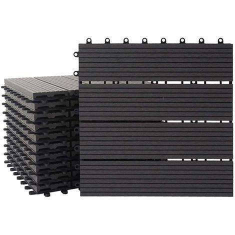 Carreaux en WPC Rhone, aspect bois pour terrasse,11 carreaux à 30x30cm=1m² ~ Premium, anthracite rectangulaire