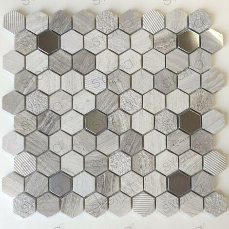 Carreaux mosaique en marbre et métal pour sol ou mur salle de bains ou cuisine Bellona Beige