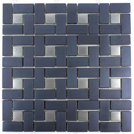 """main image of """"Carreaux mosaique noir et gris pour mur cuisine ou salle de bains JUHLI"""""""