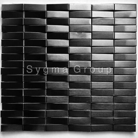 carrelage 3D mosaique en acier metal pour mur Shelter Noir