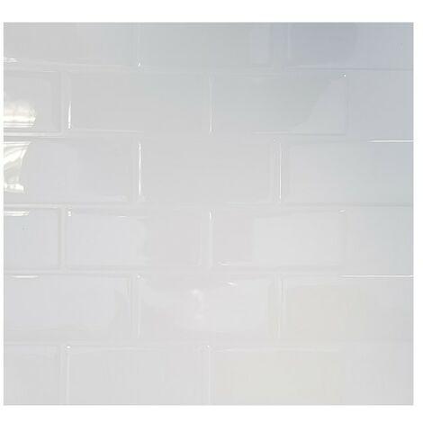 Carrelage Adhésif 3D Faïence Blanc