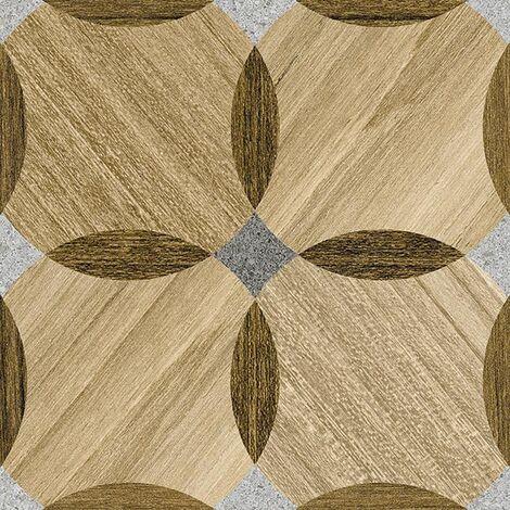 Carrelage aspect bois décoré - KOMI MOSSY-R 20X20 - 1m²