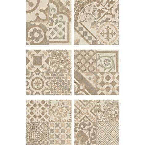Carrelage Beige imitation décor carreau ciment 45x45 cm RIVIERA BONE - 1.4m²