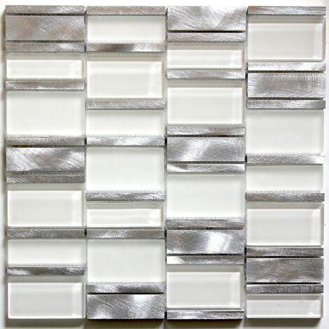 carrelage blanc en metal aluminium et verre Albi Blanc