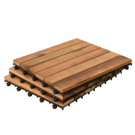 Carrelage bois Acacia Terrasse Carrelage 30x30cm Système enfichable Mosaïque